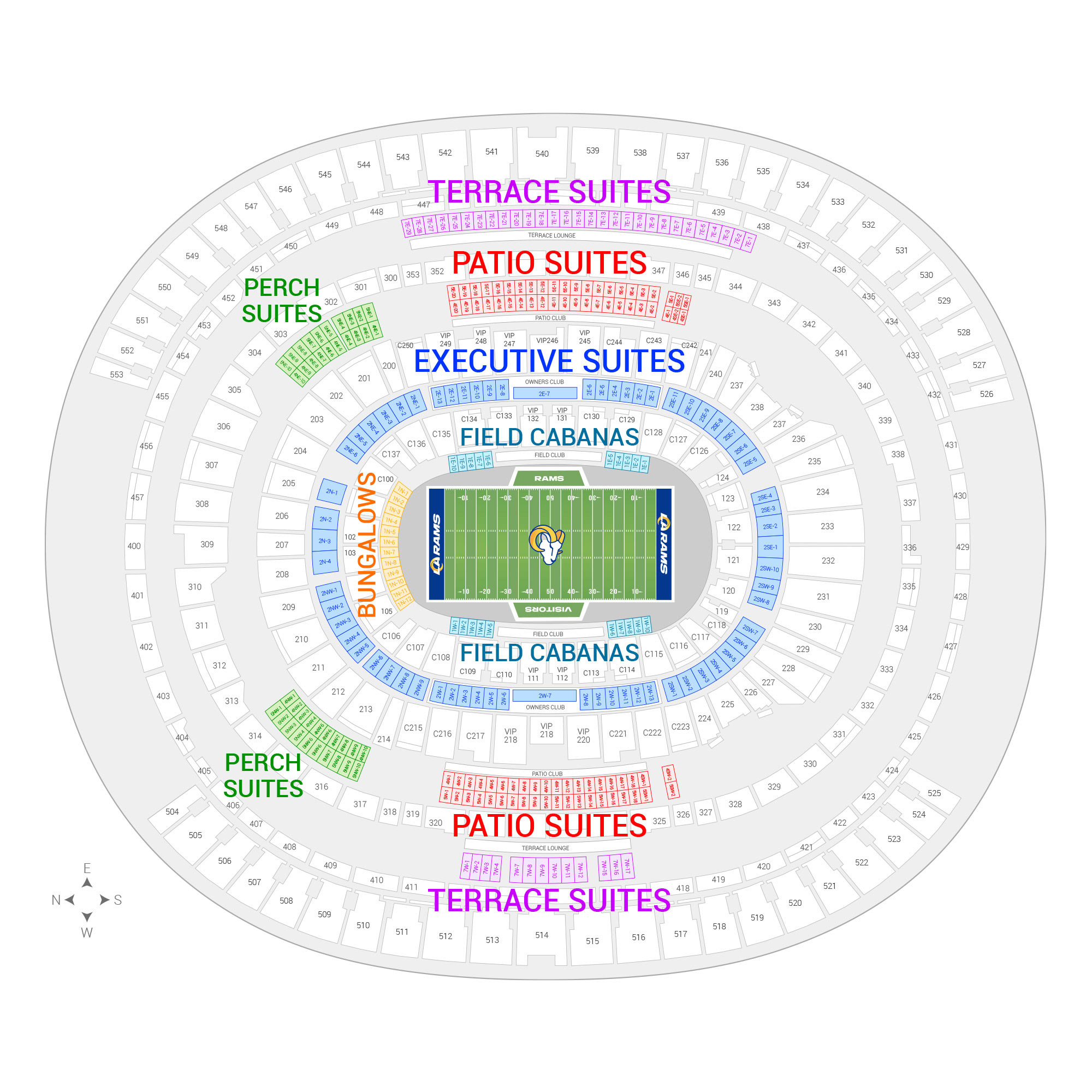 SoFi Stadium / Los Angeles Rams Suite Map and Seating Chart
